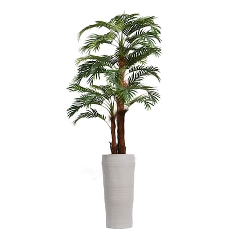 "87"" Tall Palm Tree with Burlap Kit and Fiberstone planter"