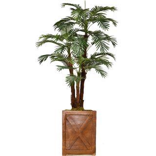 "71.6"" Tall Palm Tree with Burlap Kit and Fiberstone planter"