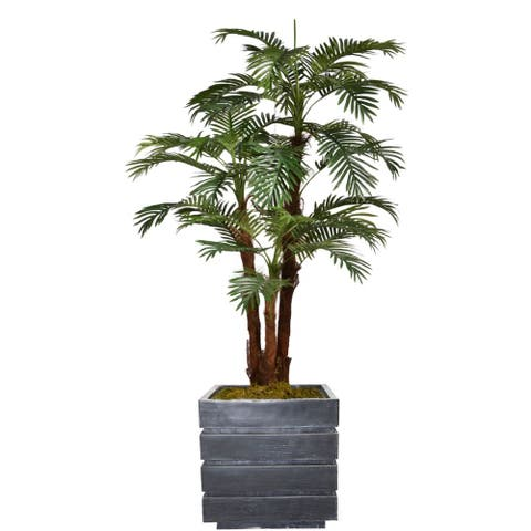 "75.5"" Tall Palm Tree with Burlap Kit and Fiberstone planter"