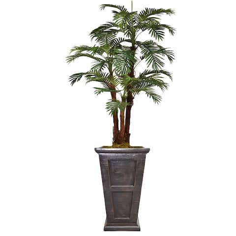 "84.8"" Tall Palm Tree with Burlap Kit and Fiberstone planter"