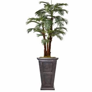 "84.8"" Tall Palm Tree with Burlap Kit and Fiberstone planter"