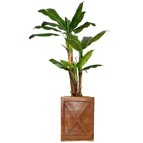 "69"" Banana Tree with Burlap Kit & Bronze Square Fiberstone planter"