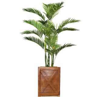 "53.6"" Tall Palm Tree with Burlap Kit and Fiberstone planter"