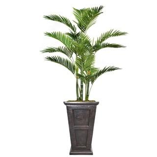"66.8"" Tall Palm Tree with Burlap Kit and Fiberstone planter"