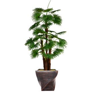 """70.8"""" Tall Fan Palm Tree,  Burlap Kit and Fiberstone planter"""