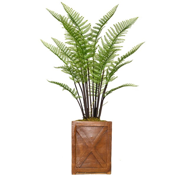"""47.6"""" Tall Fern Plant with Burlap Kit and Fiberstone planter"""
