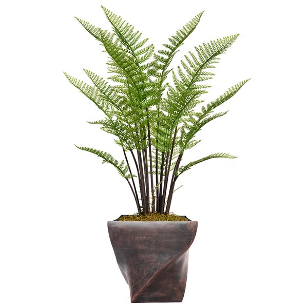 "46.8"" Tall Fern Plant with Burlap Kit and Fiberstone planter"