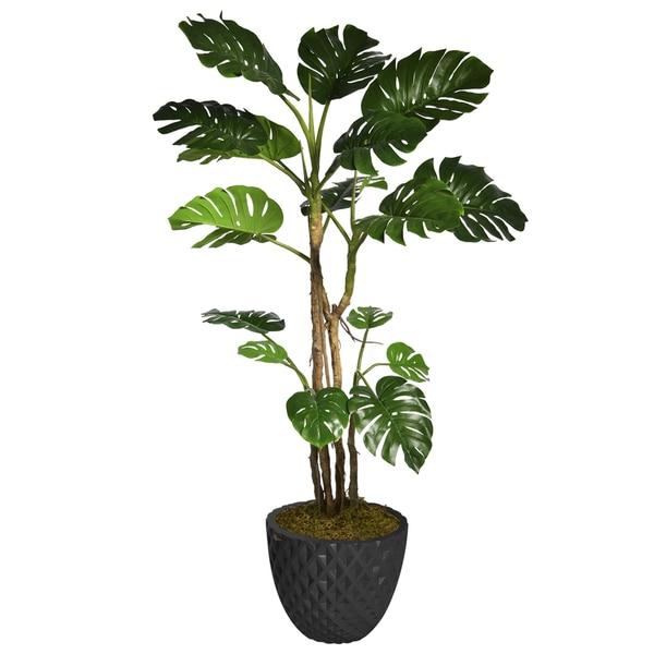 "78"" Tall Monstera with Burlap Kit and Fiberstone planter"