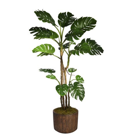 "90.8"" Tall Monstera with Burlap Kit and Fiberstone planter"