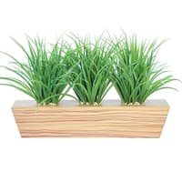 "Plastic grass in trapezoid wooden planter 22"" x 12"" x 12""H"