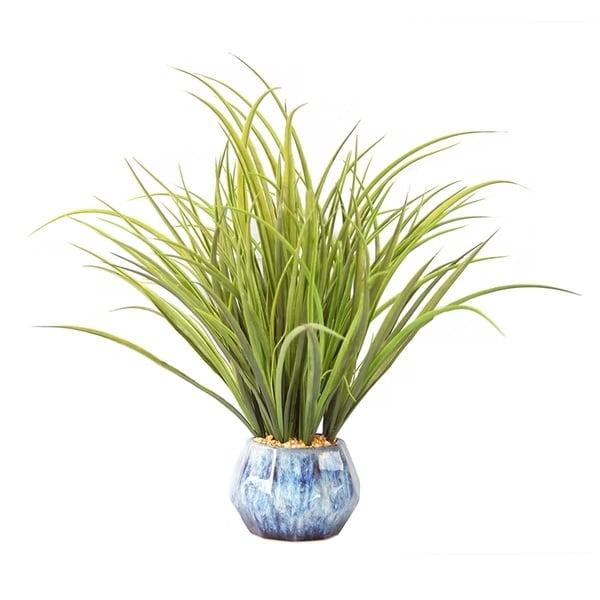 "Plastic grass and onion grass in ceramic pot 18x18x17""H"