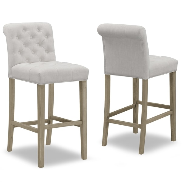 Set Of 2 Aleen Beige Fabric Barstool With Roll Back And Tufted Ons