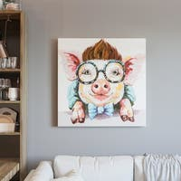 """Yosemite Home Décor """"Sophisticated Swine"""" Hand-Painted Wall Art - multi"""