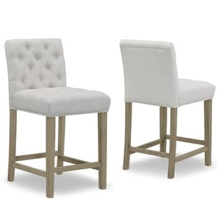 Skyline Furniture Tufted Hourglass Barstool In Linen Talc