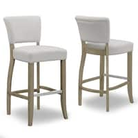 Set of 2 Aleck Beige Fabric Bar Stool with Antique Finish Wood Legs