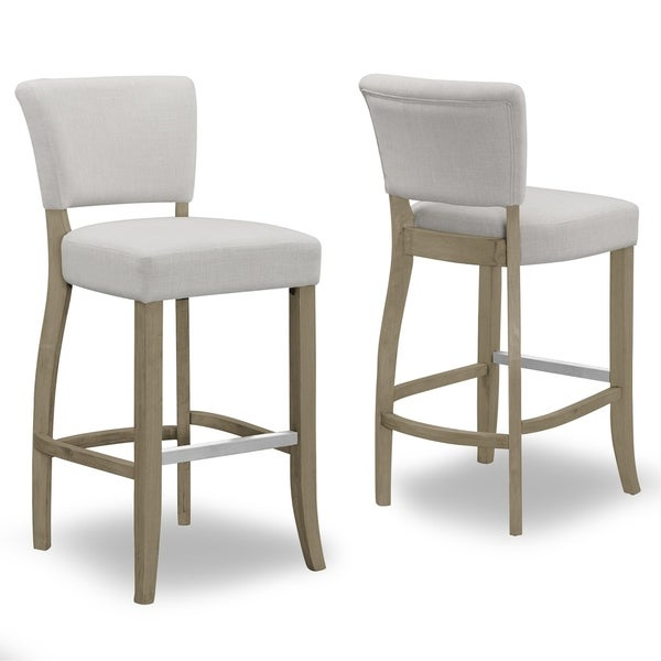 High Quality Set Of 2 Aleck Beige Fabric Bar Stool With Antique Finish Wood Legs