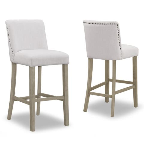 Set of 2 Aleco Beige Fabric Bar Stool with Metal Nail Head Accents