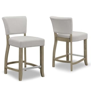 Shop Set Of2 Aleck Beige Fabric Counter Stool With Antique