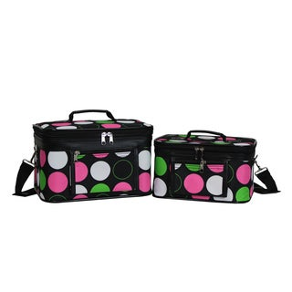 World Traveler Polka Dot 2-Piece Train Cosmetic Case Set
