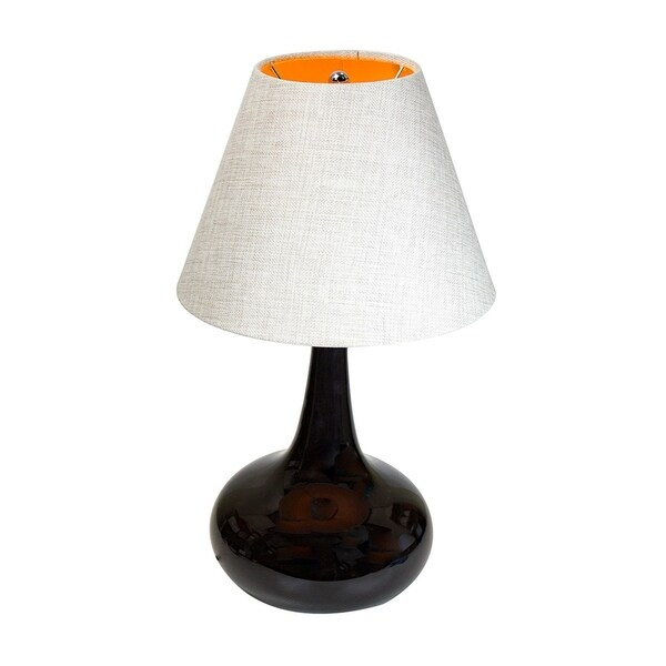 Brittany Table Lamp Base by Laura Ashley with Empire Hard Back Khaki Burlap Shade
