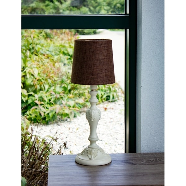 Bingley Beige Accent Table Lamp Base by Laura Ashley with Drum Chandelier Clip-On Chocolate Burlap Shade