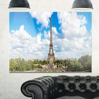 Panoramic Paris Eiffel Tower under Clouds - Cityscape Glossy Metal Wall Art