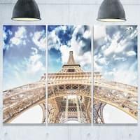 Designart - Beautiful view of Paris Eiffel Tower under Clouds - Cityscape Glossy Metal Wall Art
