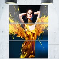 Woman in Yellow with Jewelry - Art Portrait Glossy Alumimium 28Wx36H
