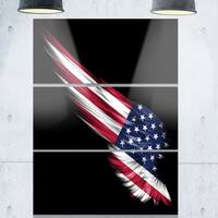Wing with American Flag - Digital Art Glossy Metal Wall Art