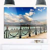 City Lake Under Clouds - Cityscape Photography Glossy Metal Wall Art