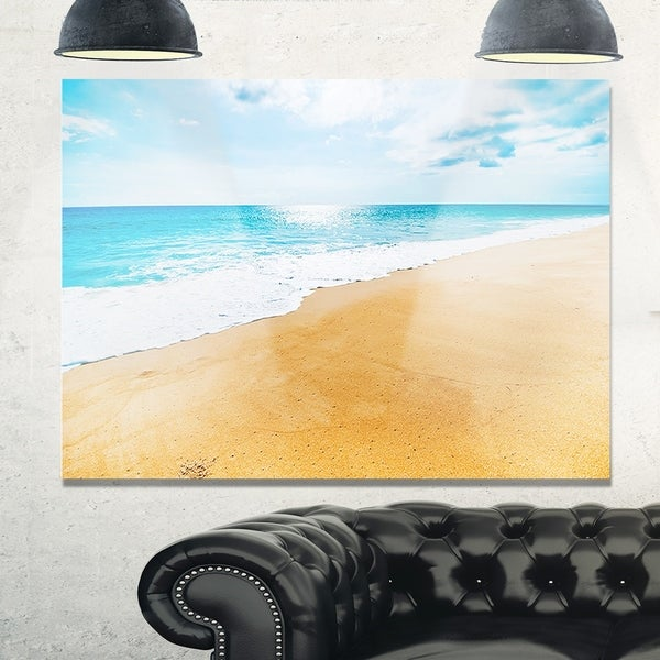 Serene Beach and Sun Daylight - Modern Beach Glossy Metal Wall Art ...