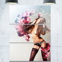 Brown Sexy Woman with Flowers - Portrait Art Glossy Alumimium 28Wx36H