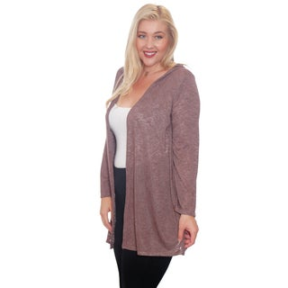 Hot Ginger Women's Plus Size Drape Front Cardigan With Hood (More options available)