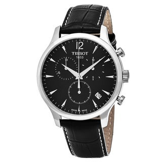 Tissot Men's T063.617.16.057.00 'Tradition' Black Dial Black Leather Strap Chronograph Swiss Quartz Watch