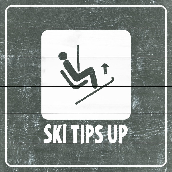 Marmont Hill - Handmade Ski Tips up Diagram Painting Print on White Wood