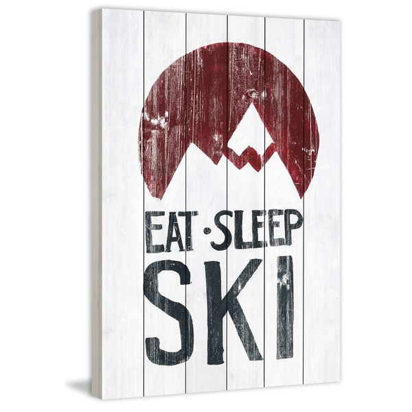 Marmont Hill - Handmade Eat Sleep Ski Mountains Painting Print on White Wood