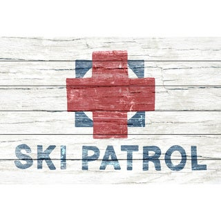 Marmont Hill - Handmade Rugged Ski Patrol Painting Print on White Wood