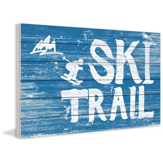 Marmont Hill - Handmade Ski Trail Painting Print on White Wood