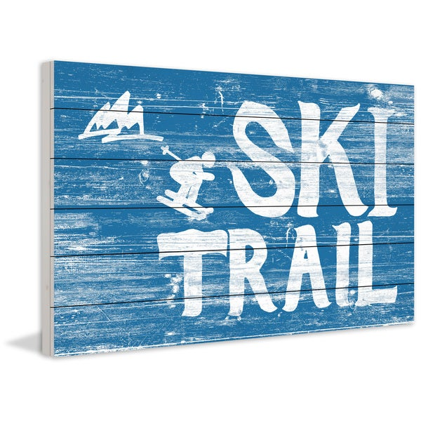Marmont Hill - Handmade Ski Trail Painting Print on White Wood