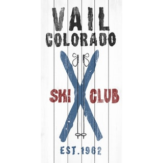 Marmont Hill - Handmade Vail Ski Club Painting Print on White Wood