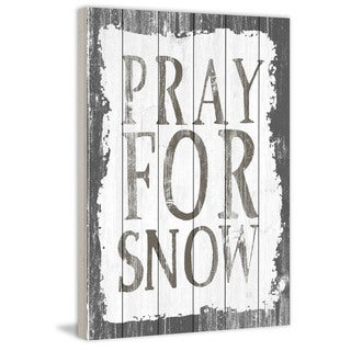 Marmont Hill - Handmade Pray for Snow Painting Print on White Wood