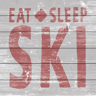 Marmont Hill - Handmade Eat Sleep Ski Painting Print on White Wood
