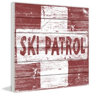 Marmont Hill - Handmade Ski Patrol Cross Painting Print on White Wood