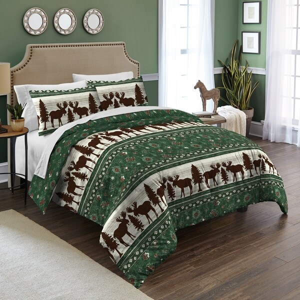 Destinations Moose Fair Isle Cotton 3-piece Comforter Set