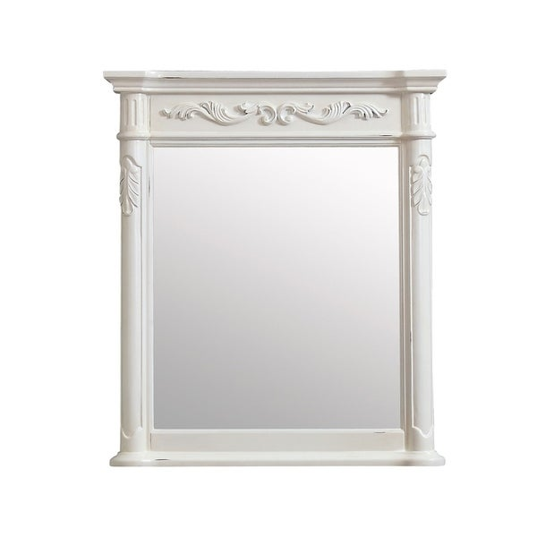 "Avanity Provence 30 in. Wall Mirror - Antique White - Antique White - 30""W x 34""H"