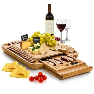 Bamboo Cheese Board & Cutlery Set w Slide Out Drawer 4 Stainless Knife