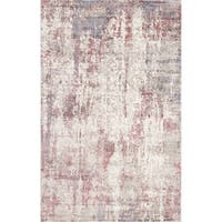 Allure Handmade Vintage Abstract Grey Raspberry Viscose Rug - 8' x10'