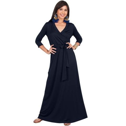 KOH KOH Womens Half Sleeves V-neck Casual Evening Floor Length Maxi Dress