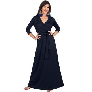 KOH KOH Womens Half Sleeves V-neck Casual Evening Floor Length Maxi Dress
