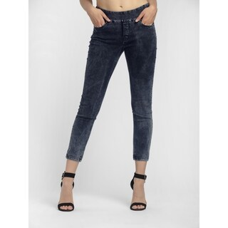 Bluberry Women's Seraphia Black marble ankle length denim